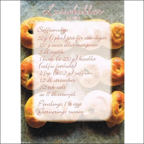 Lussebullar och Äpplekaka (2 kort).